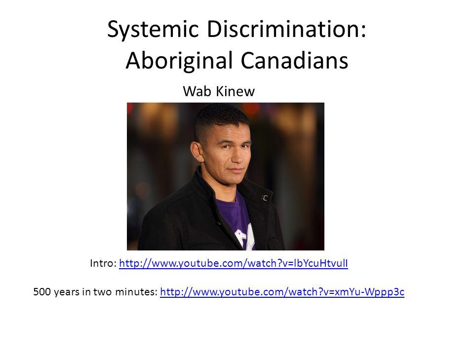 Systemic Discrimination: Aboriginal Canadians Wab Kinew Intro: http://www.youtube.com/watch v=lbYcuHtvulIhttp://www.youtube.com/watch v=lbYcuHtvulI 500 years in two minutes: http://www.youtube.com/watch v=xmYu-Wppp3chttp://www.youtube.com/watch v=xmYu-Wppp3c