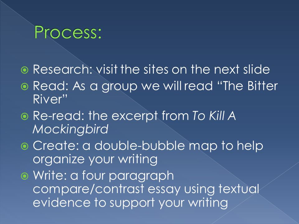  Research: visit the sites on the next slide  Read: As a group we will read The Bitter River  Re-read: the excerpt from To Kill A Mockingbird  Create: a double-bubble map to help organize your writing  Write: a four paragraph compare/contrast essay using textual evidence to support your writing