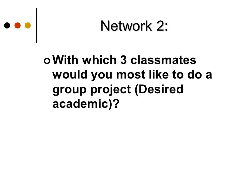 Network 2: With which 3 classmates would you most like to do a group project (Desired academic)