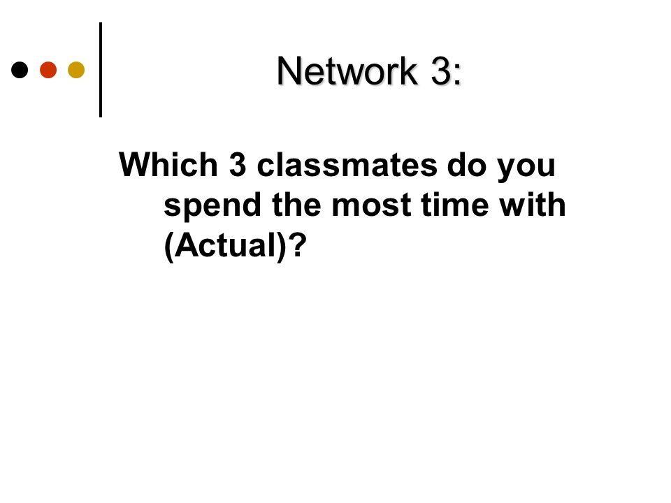 Network 3: Which 3 classmates do you spend the most time with (Actual)