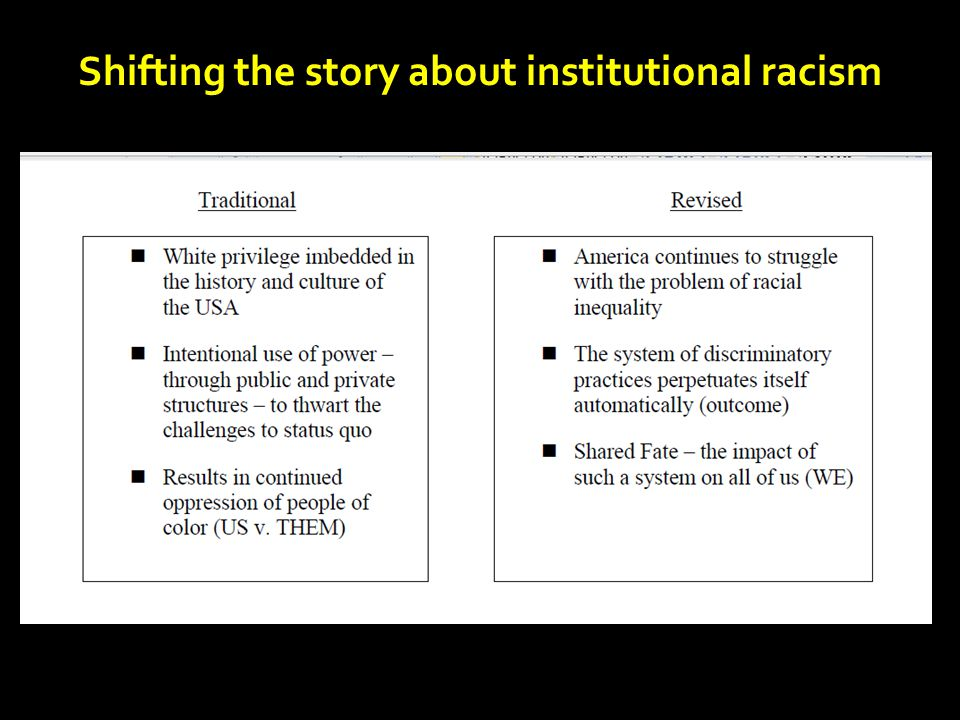 Shifting the story about institutional racism