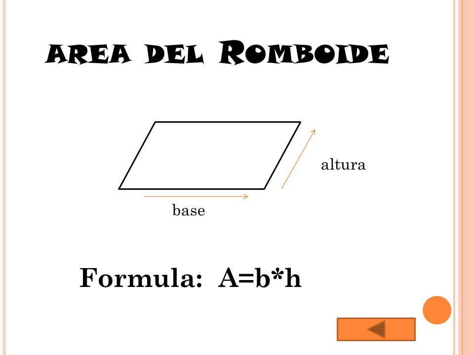 AREA DEL R OMBOIDE Altur altura base Formula: A=b*h