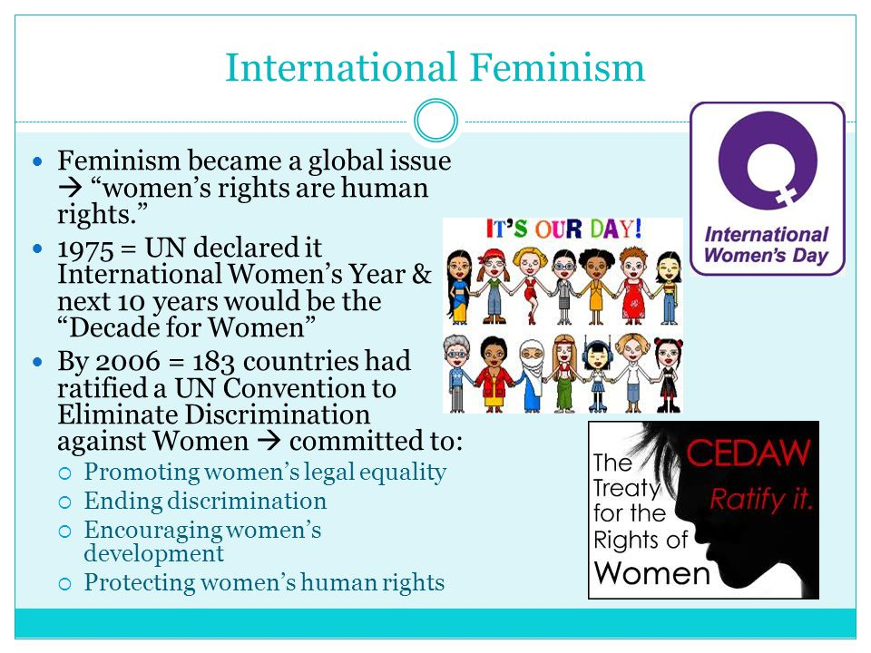 International Feminism Feminism became a global issue  women's rights are human rights. 1975 = UN declared it International Women's Year & next 10 years would be the Decade for Women By 2006 = 183 countries had ratified a UN Convention to Eliminate Discrimination against Women  committed to:  Promoting women's legal equality  Ending discrimination  Encouraging women's development  Protecting women's human rights