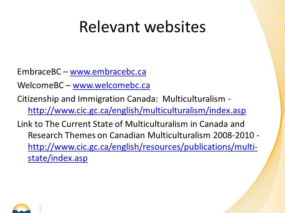 Relevant websites EmbraceBC – www.embracebc.cawww.embracebc.ca WelcomeBC – www.welcomebc.cawww.welcomebc.ca Citizenship and Immigration Canada: Multic