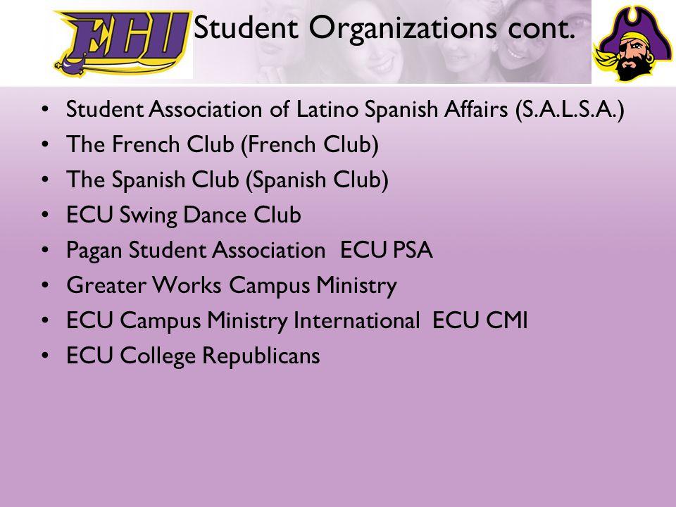 ECU Student Organizations cont.