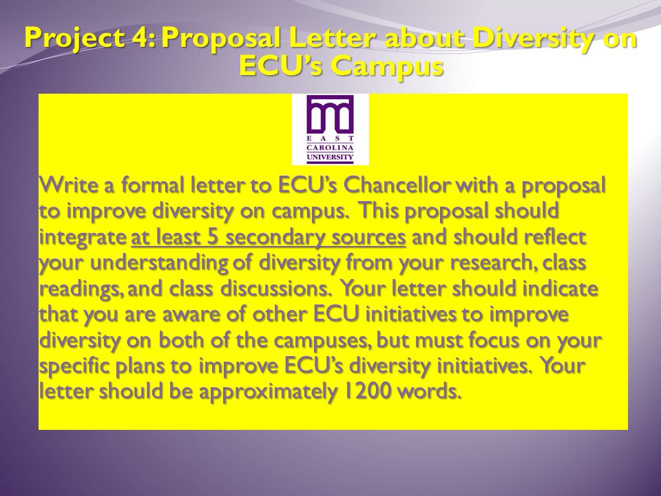 Project 4: Proposal Letter about Diversity on ECU's Campus Write a formal letter to ECU's Chancellor with a proposal to improve diversity on campus.