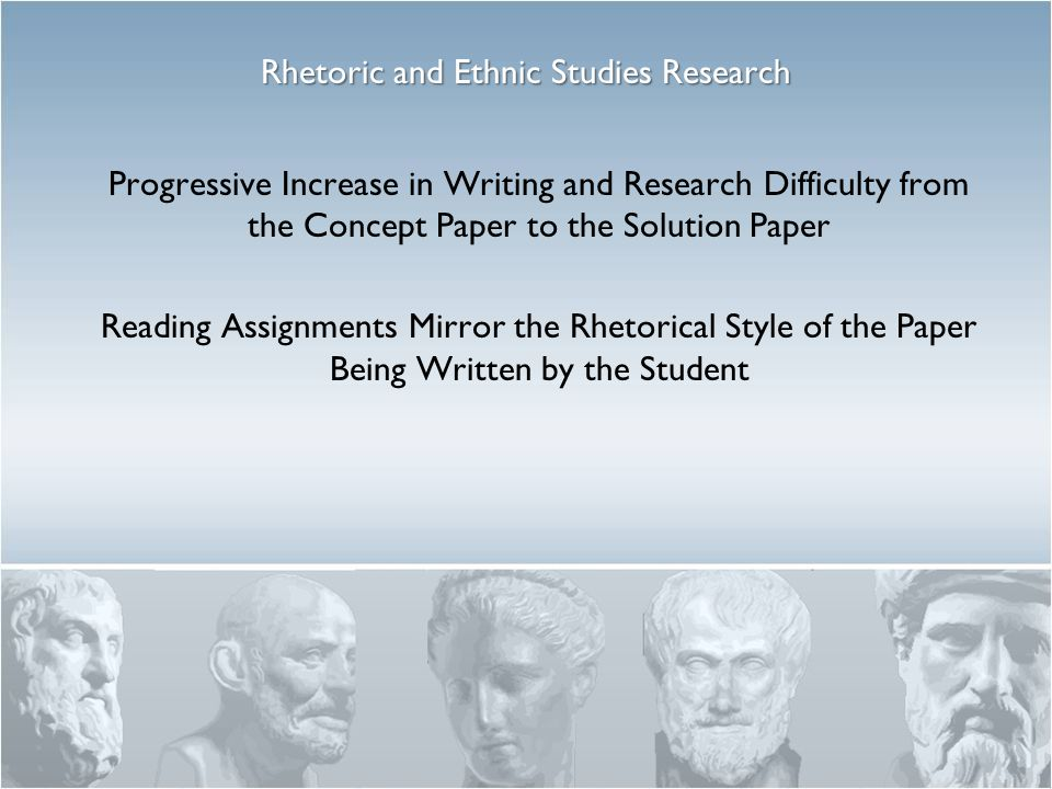 Progressive Increase in Writing and Research Difficulty from the Concept Paper to the Solution Paper Reading Assignments Mirror the Rhetorical Style of the Paper Being Written by the Student Rhetoric and Ethnic Studies Research