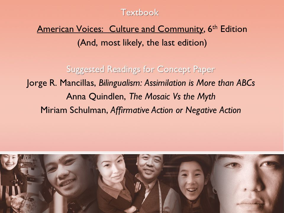Textbook American Voices: Culture and Community, 6 th Edition (And, most likely, the last edition) Suggested Readings for Concept Paper Jorge R.
