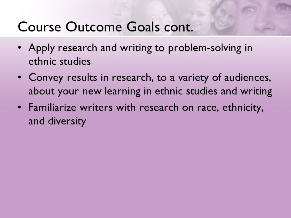 Course Outcome Goals cont.