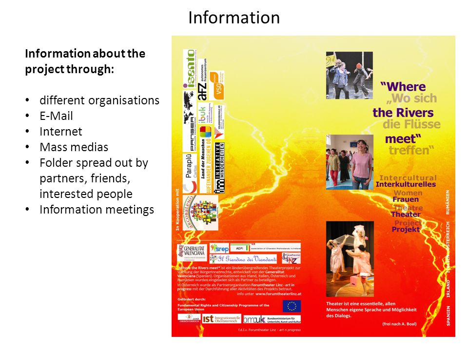 Information Information about the project through: different organisations E-Mail Internet Mass medias Folder spread out by partners, friends, interested people Information meetings
