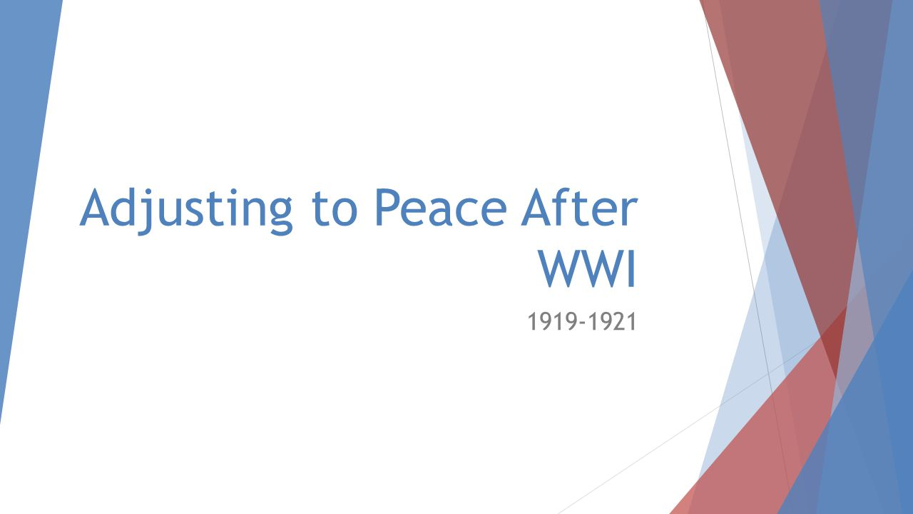 Adjusting to Peace After WWI 1919-1921