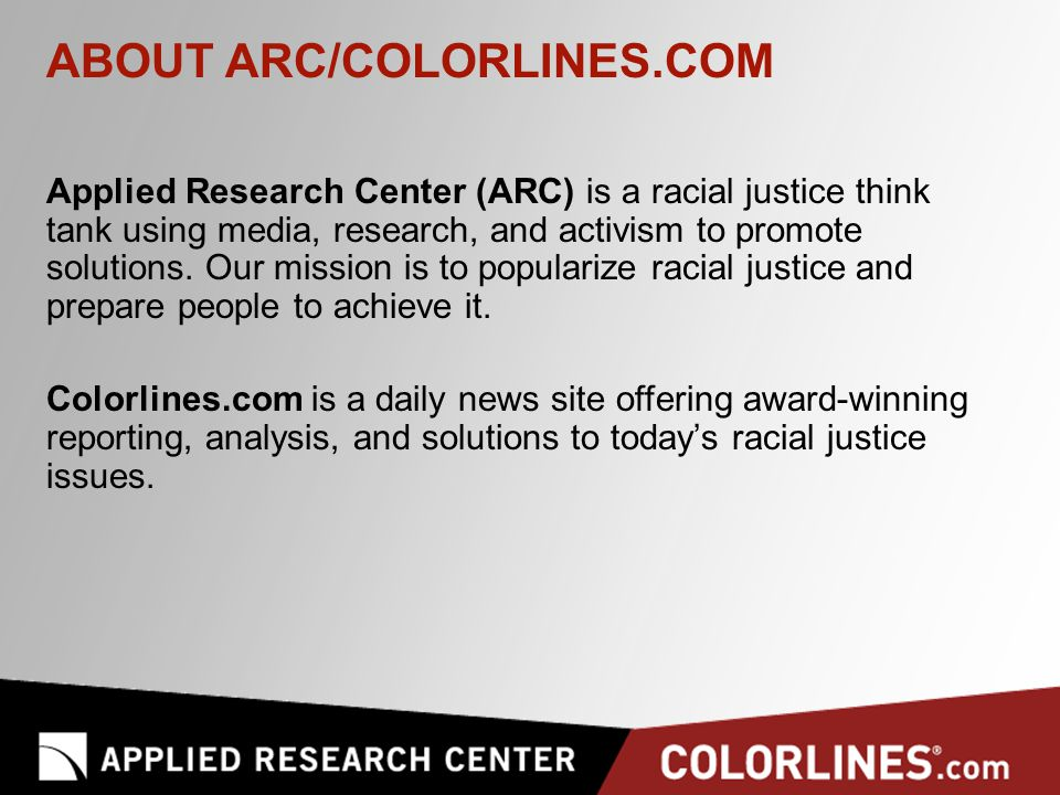 ARC Racial Justice Trainings & Consultations ARC's experienced multi-racial and multi-generational staff team provides customized trainings and technical assistance services: On-site face-to-face trainings Online trainings, webinars and teleconferences Keynote speeches and workshops at conferences Coaching and consulting Video production; development of educational materials Strategic research, policy analysis and evaluation