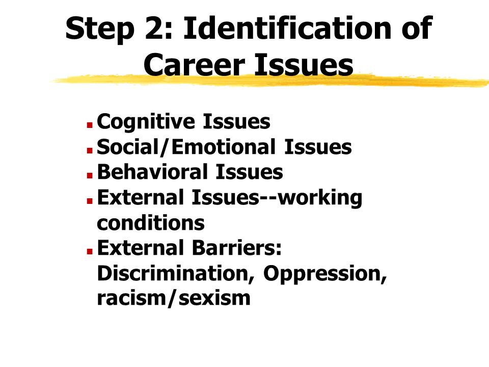 Step 2: Identification of Career Issues n Cognitive Issues n Social/Emotional Issues n Behavioral Issues n External Issues--working conditions n Exter