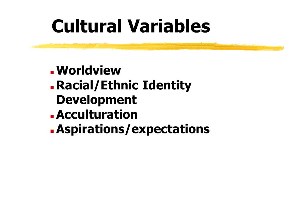 Cultural Variables n Worldview n Racial/Ethnic Identity Development n Acculturation n Aspirations/expectations