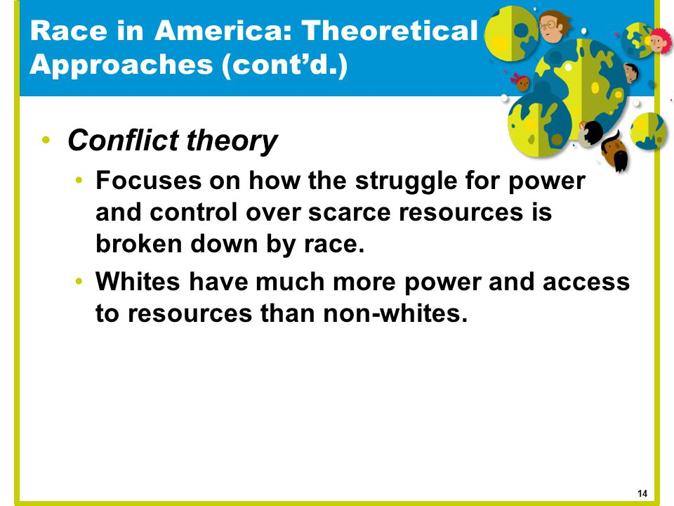 Race in America: Theoretical Approaches (cont'd.) Conflict theory Focuses on how the struggle for power and control over scarce resources is broken do