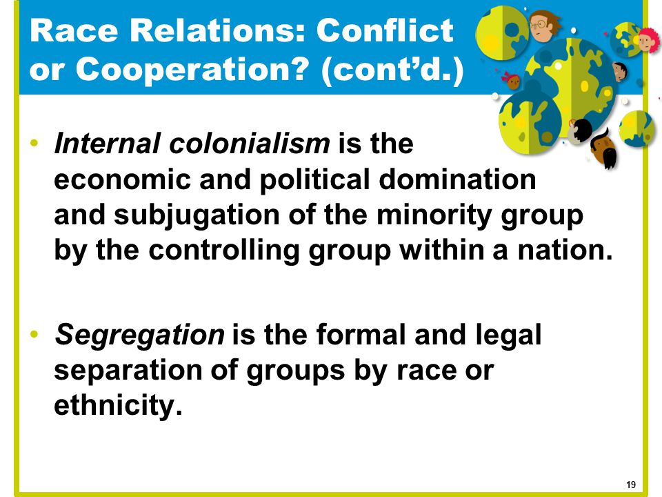 Internal colonialism is the economic and political domination and subjugation of the minority group by the controlling group within a nation. Segregat
