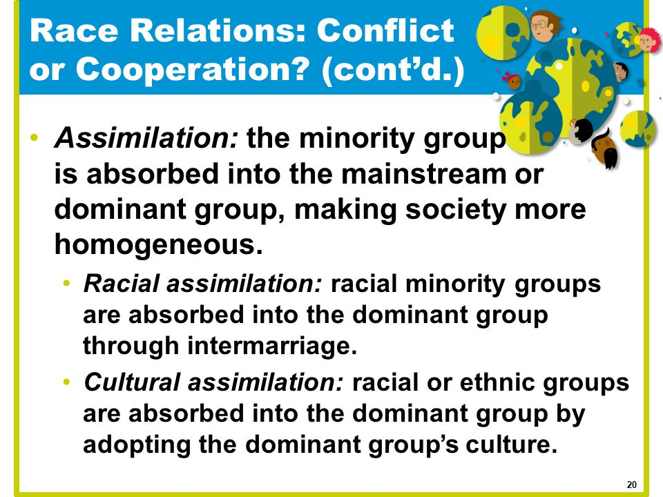 Assimilation: the minority group is absorbed into the mainstream or dominant group, making society more homogeneous. Racial assimilation: racial minor
