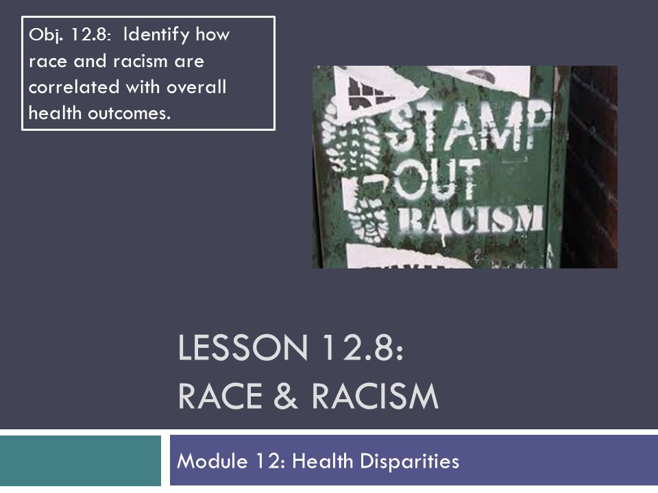 LESSON 12.8: RACE & RACISM Module 12: Health Disparities Obj.