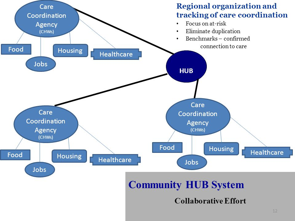 HUB Regional organization and tracking of care coordination Focus on at-risk Eliminate duplication Benchmarks – confirmed connection to care Community HUB System Collaborative Effort 12 Care Coordination Agency (CHWs) Food Jobs Housing Healthcare Care Coordination Agency (CHWs) Food Jobs Housing Healthcare Care Coordination Agency (CHWs) Food Jobs Housing Healthcare