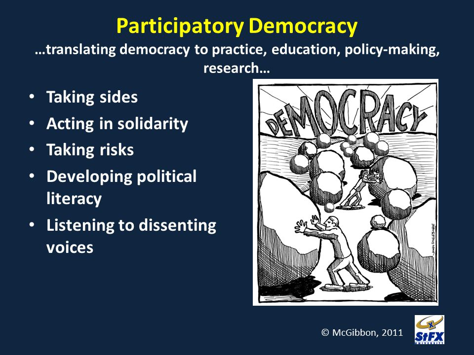 Participatory Democracy …translating democracy to practice, education, policy-making, research… Taking sides Acting in solidarity Taking risks Develop