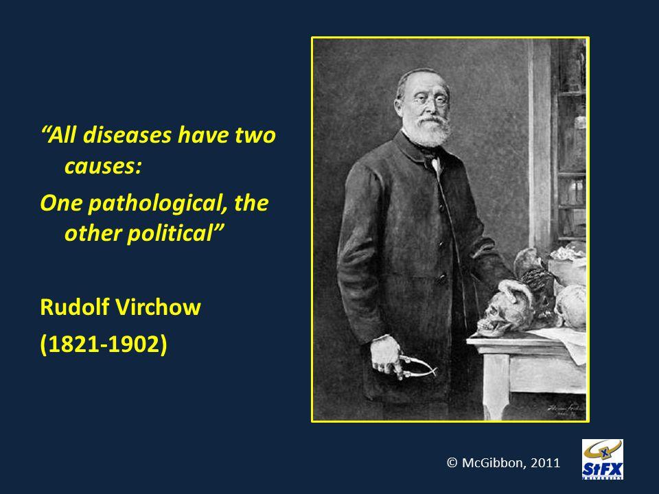"""""""All diseases have two causes: One pathological, the other political"""" Rudolf Virchow (1821-1902) © McGibbon, 2011"""