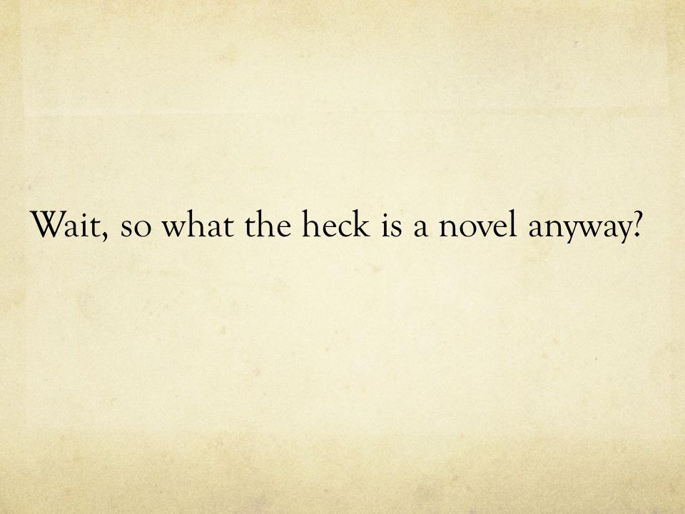 Wait, so what the heck is a novel anyway