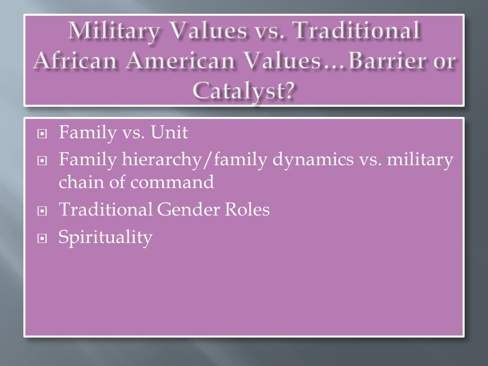  Family vs. Unit  Family hierarchy/family dynamics vs.