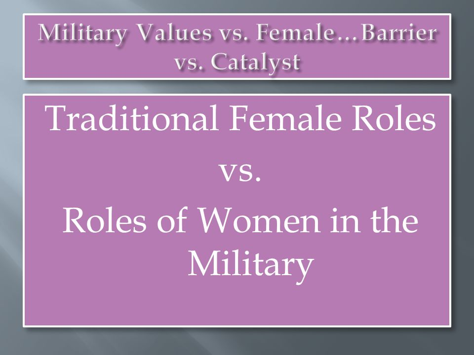 Traditional Female Roles vs. Roles of Women in the Military Traditional Female Roles vs.