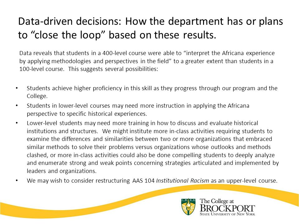 """Data-driven decisions: How the department has or plans to """"close the loop"""" based on these results. Data reveals that students in a 400-level course we"""