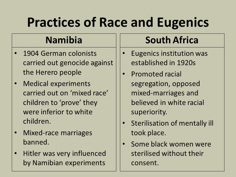 Practices of Race and Eugenics Namibia 1904 German colonists carried out genocide against the Herero people Medical experiments carried out on 'mixed