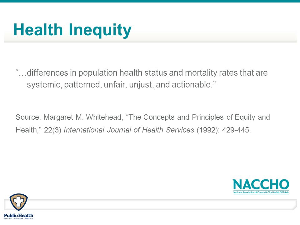 "Health Inequity ""…differences in population health status and mortality rates that are systemic, patterned, unfair, unjust, and actionable."" Source: M"