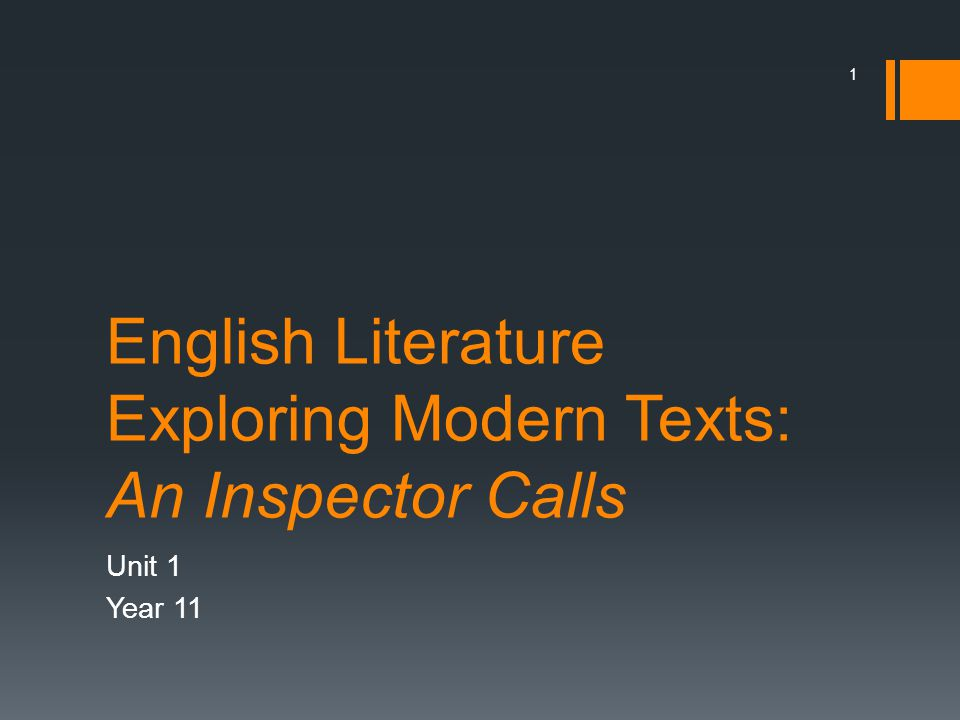 English Literature Exploring Modern Texts: An Inspector Calls Unit 1 Year 11 1
