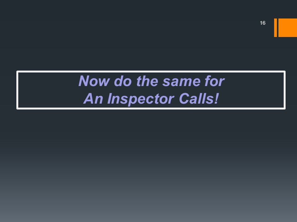 Now do the same for An Inspector Calls! 16