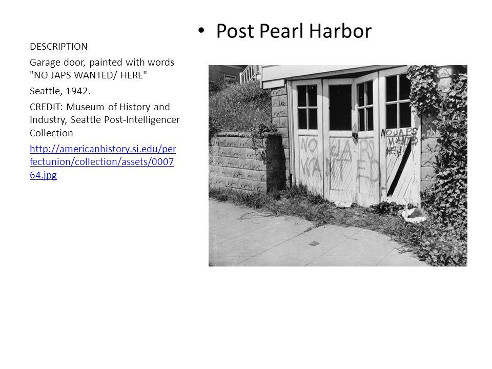 Post Pearl Harbor DESCRIPTION Garage door, painted with words