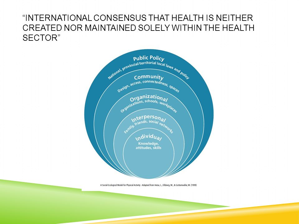 INTERNATIONAL CONSENSUS THAT HEALTH IS NEITHER CREATED NOR MAINTAINED SOLELY WITHIN THE HEALTH SECTOR