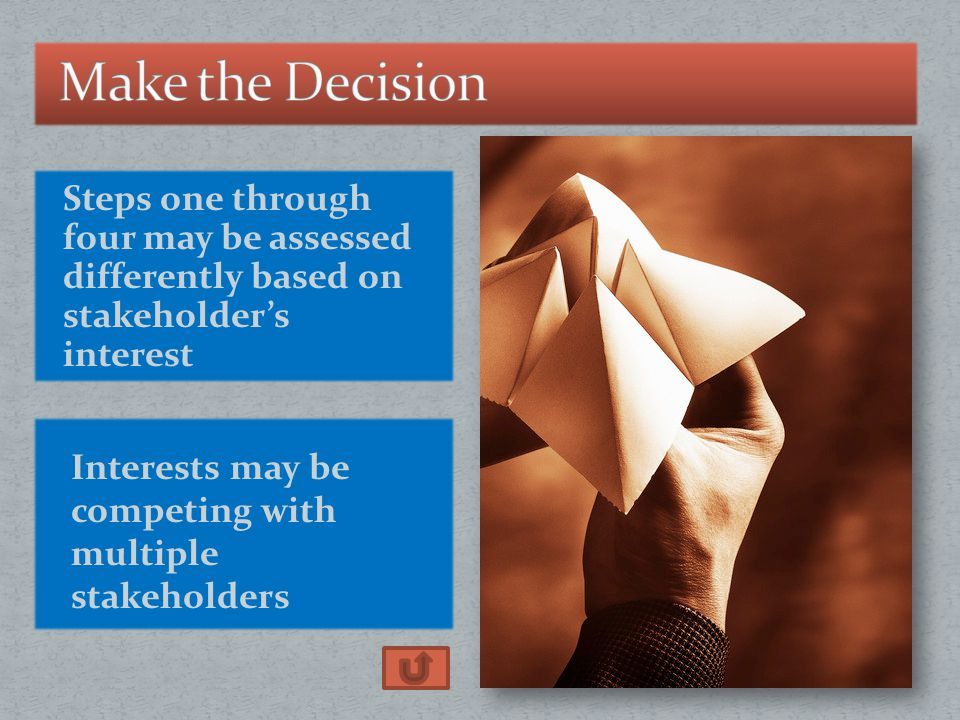 Steps one through four may be assessed differently based on stakeholder's interest Interests may be competing with multiple stakeholders
