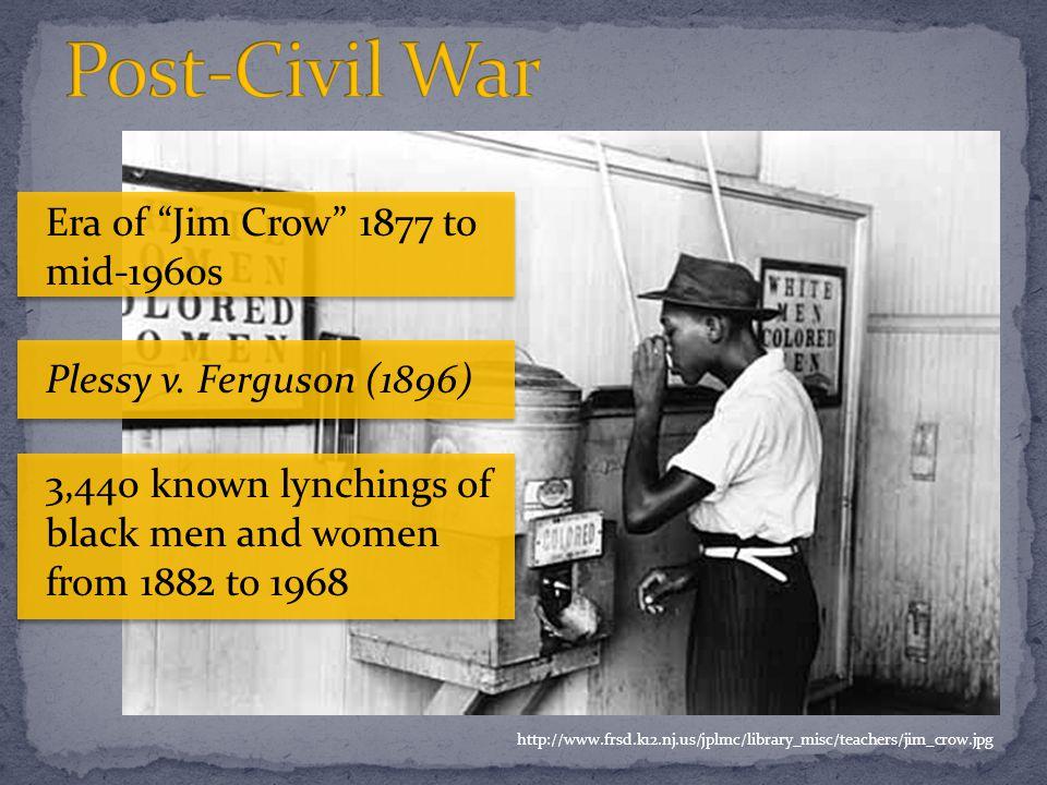http://www.frsd.k12.nj.us/jplmc/library_misc/teachers/jim_crow.jpg Era of Jim Crow 1877 to mid-1960s Plessy v.