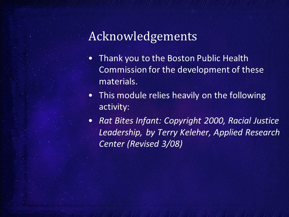 Acknowledgements Thank you to the Boston Public Health Commission for the development of these materials.