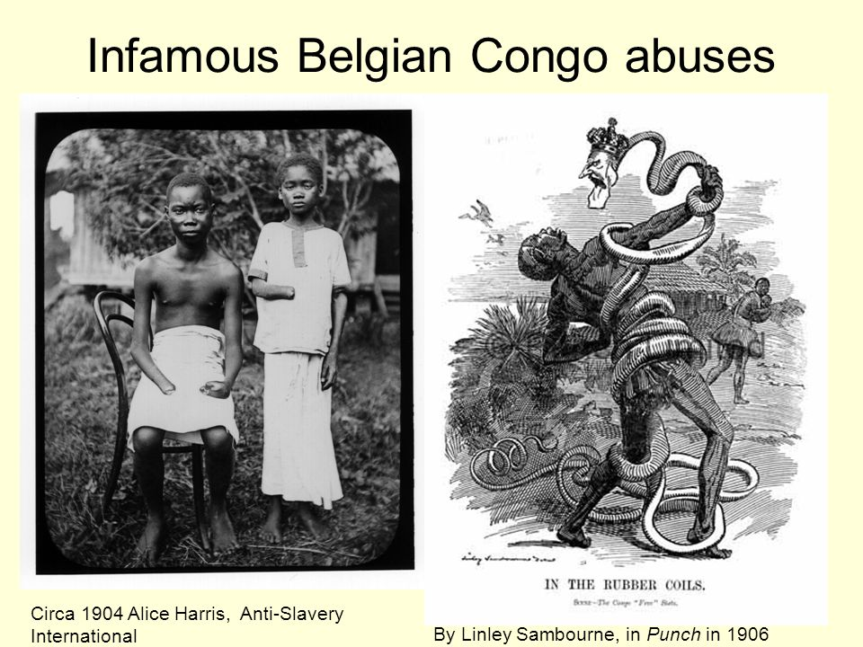 Infamous Belgian Congo abuses Circa 1904 Alice Harris, Anti-Slavery International By Linley Sambourne, in Punch in 1906