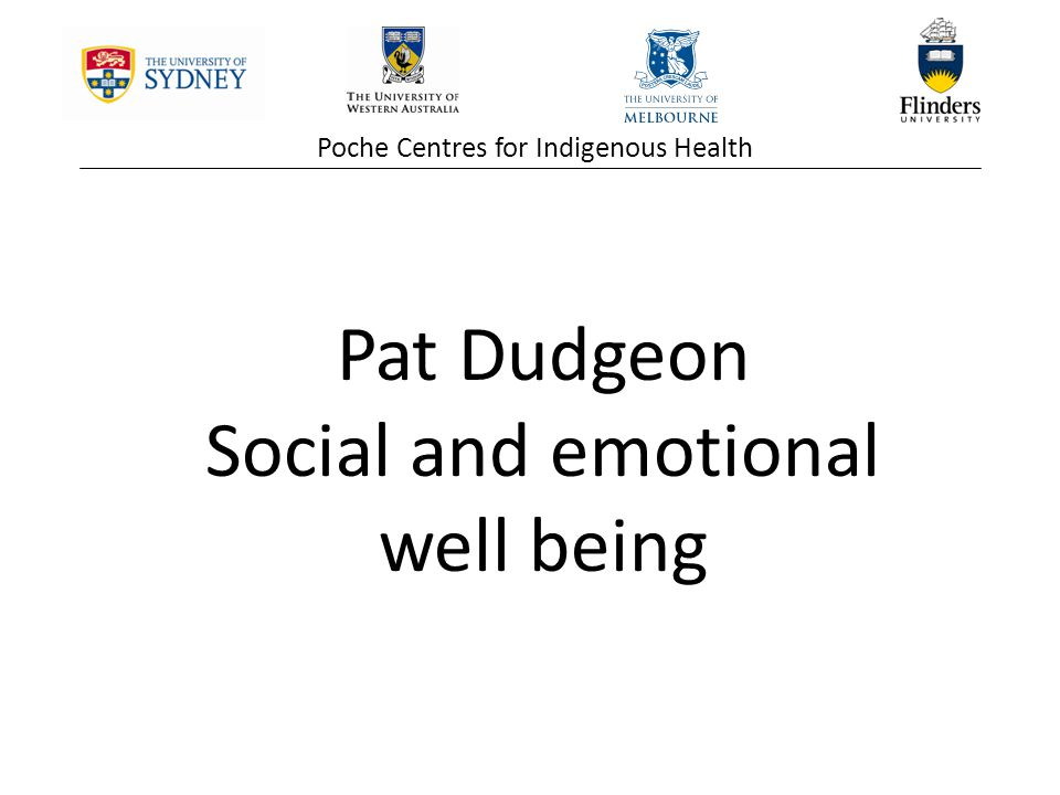 Poche Centres for Indigenous Health Pat Dudgeon Social and emotional well being