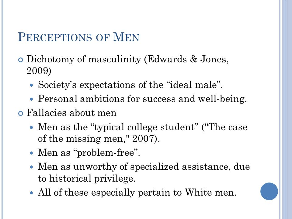 P ERCEPTIONS OF M EN Dichotomy of masculinity (Edwards & Jones, 2009) Society's expectations of the ideal male .