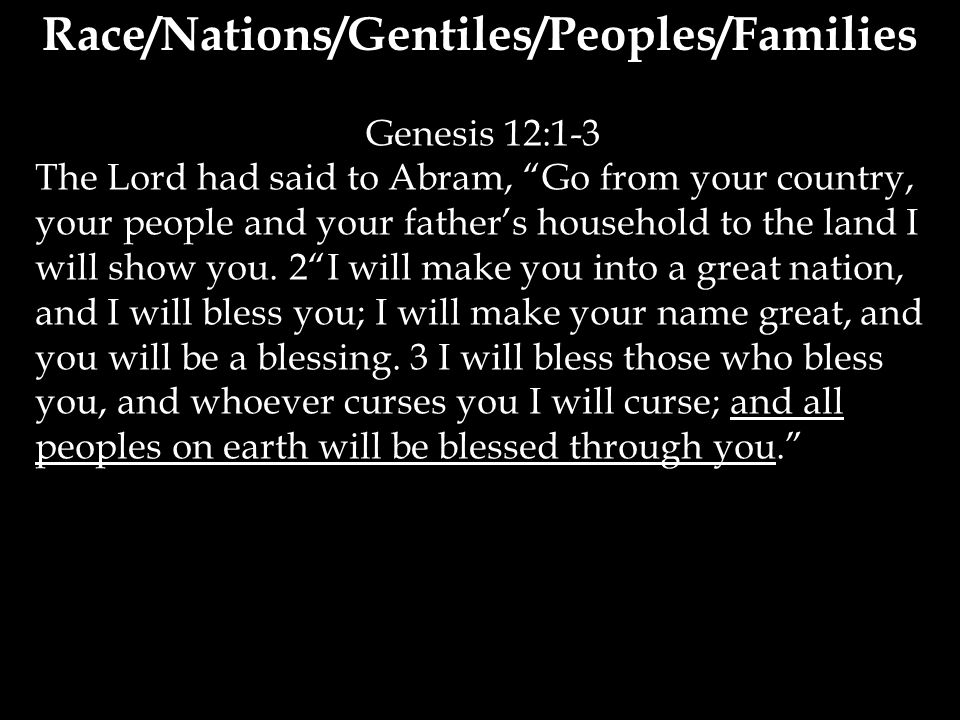 Genesis 12:1-3 The Lord had said to Abram, Go from your country, your people and your father's household to the land I will show you.