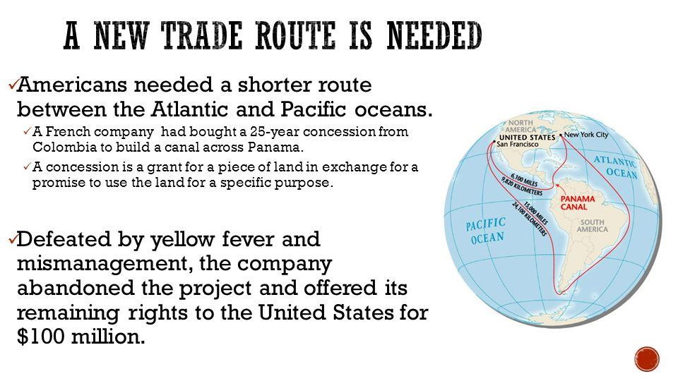 Americans needed a shorter route between the Atlantic and Pacific oceans.