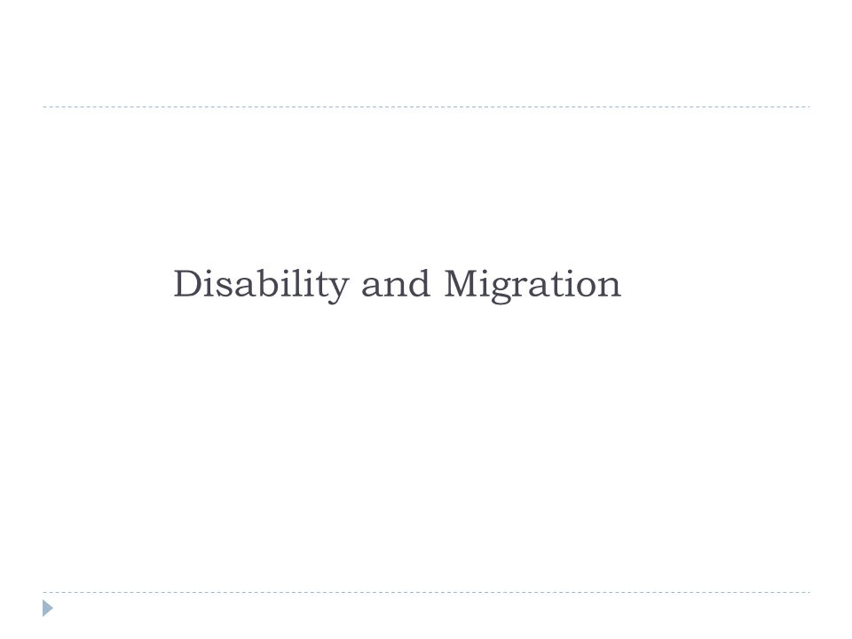 Disability and Migration