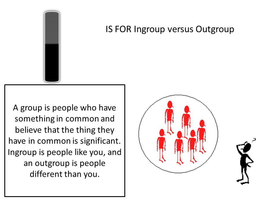 IS FOR Ingroup versus Outgroup A group is people who have something in common and believe that the thing they have in common is significant. Ingroup i