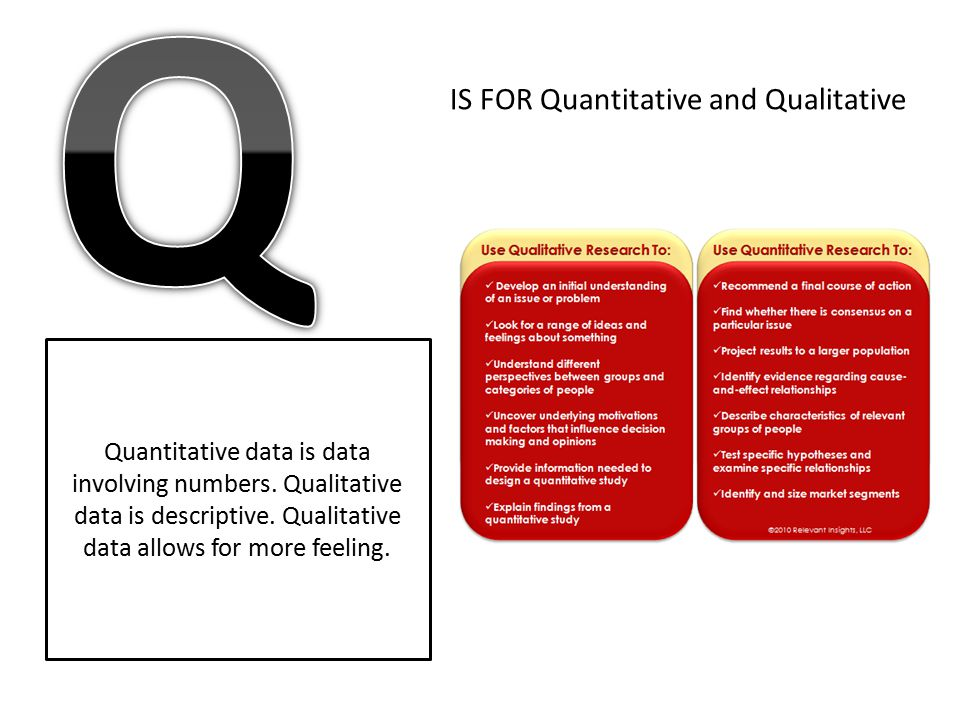 IS FOR Quantitative and Qualitative Quantitative data is data involving numbers. Qualitative data is descriptive. Qualitative data allows for more fee