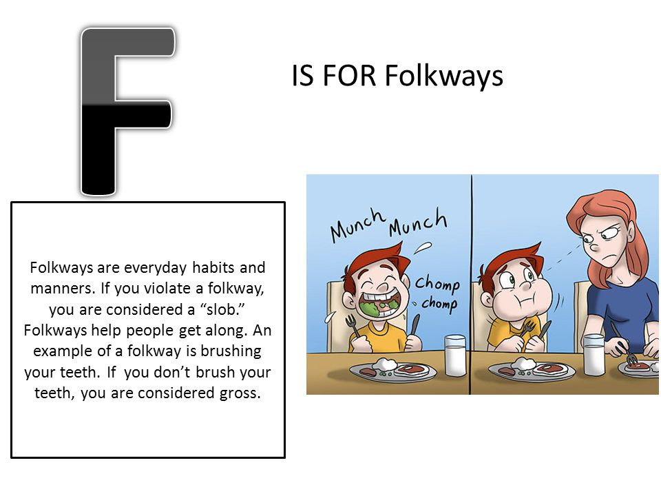 "IS FOR Folkways Folkways are everyday habits and manners. If you violate a folkway, you are considered a ""slob."" Folkways help people get along. An ex"