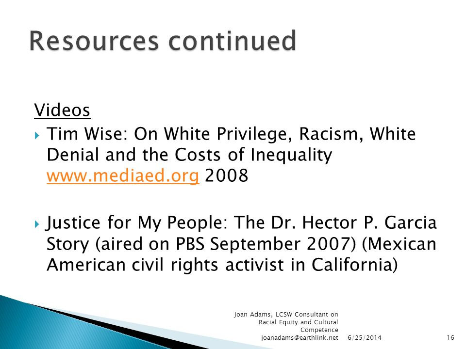 Videos  Tim Wise: On White Privilege, Racism, White Denial and the Costs of Inequality www.mediaed.org 2008 www.mediaed.org  Justice for My People:
