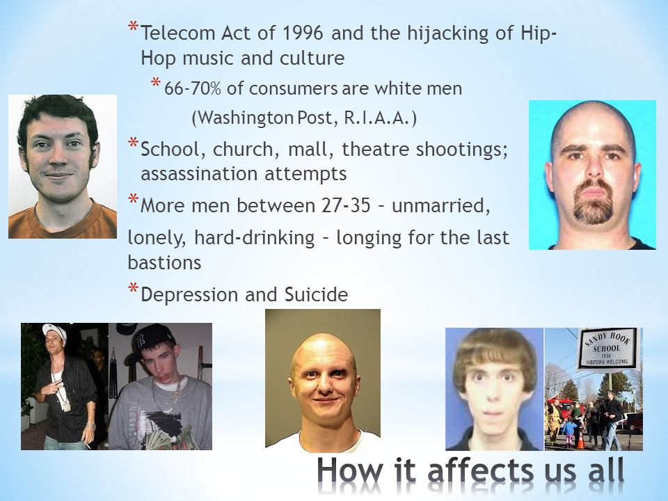* Telecom Act of 1996 and the hijacking of Hip- Hop music and culture * 66-70% of consumers are white men (Washington Post, R.I.A.A.) * School, church, mall, theatre shootings; assassination attempts * More men between 27-35 – unmarried, lonely, hard-drinking – longing for the last bastions * Depression and Suicide