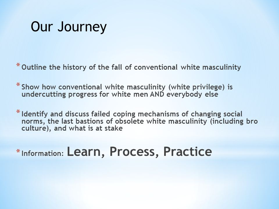 * Outline the history of the fall of conventional white masculinity * Show how conventional white masculinity (white privilege) is undercutting progress for white men AND everybody else * Identify and discuss failed coping mechanisms of changing social norms, the last bastions of obsolete white masculinity (including bro culture), and what is at stake * Information: Learn, Process, Practice Our Journey